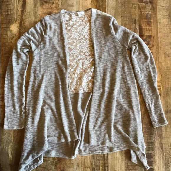 Charming Charlie Sweaters - Open front cardigan with back lace detail